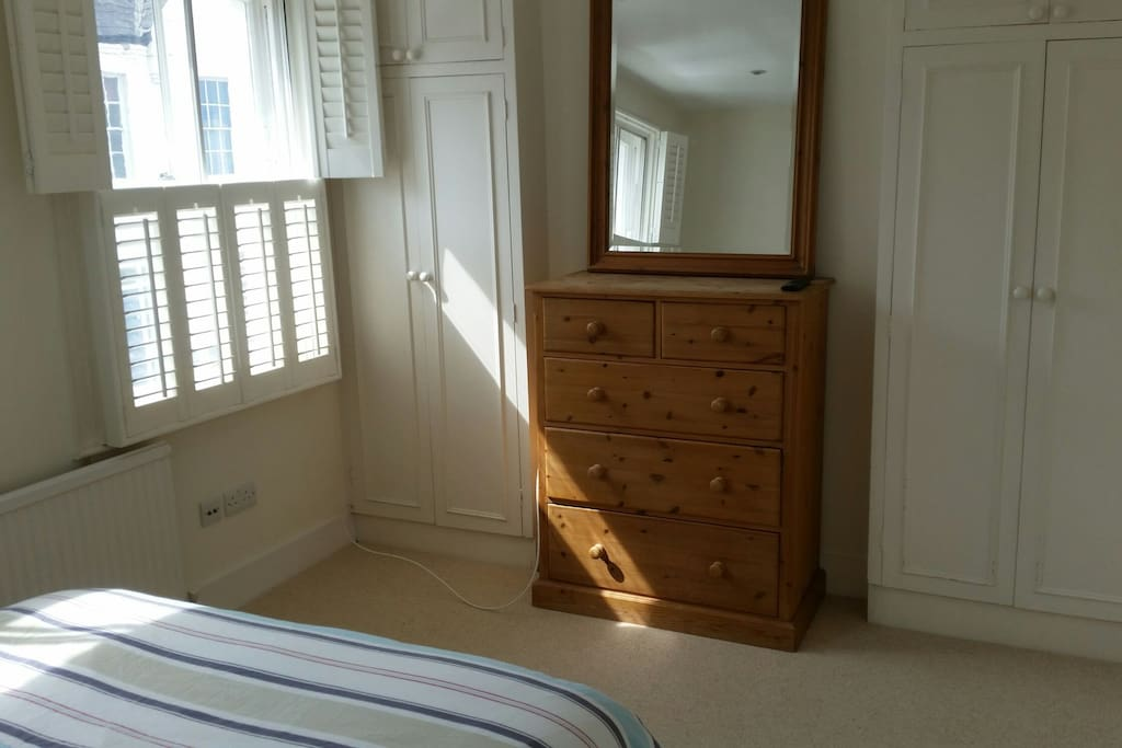 Fitted wardrobe and chest of drawers. There is also a TV in the room with all sky channels and Netflix.