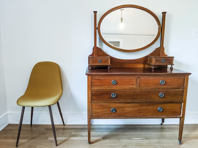 This gorgeous antique British bedroom dresser is yours to admire when staying in the back king size bedroom at the Upstairs Blue Oasis Apartment - enjoy!