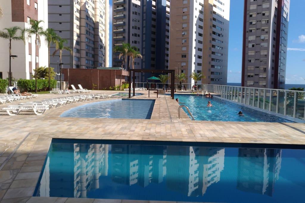 piscina 25m, spa, piscina infantil, piscina para biribol, todas aquecidas