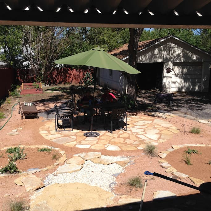 Liveable back yard for dining and relaxing