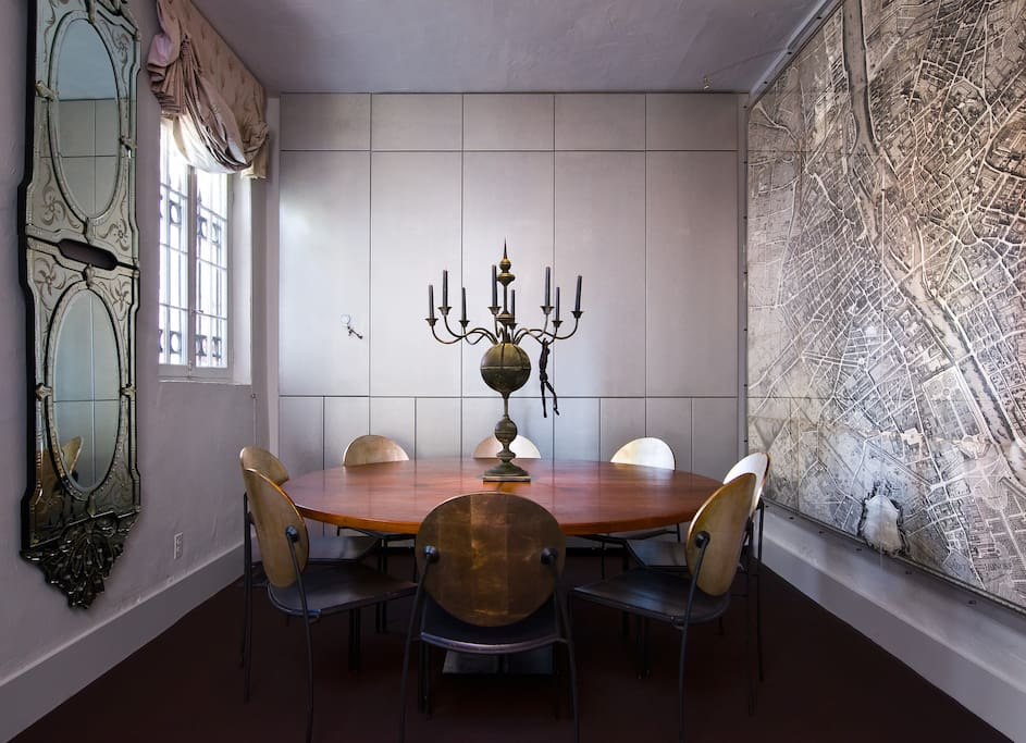 Silvered dinning room with Paris map.
