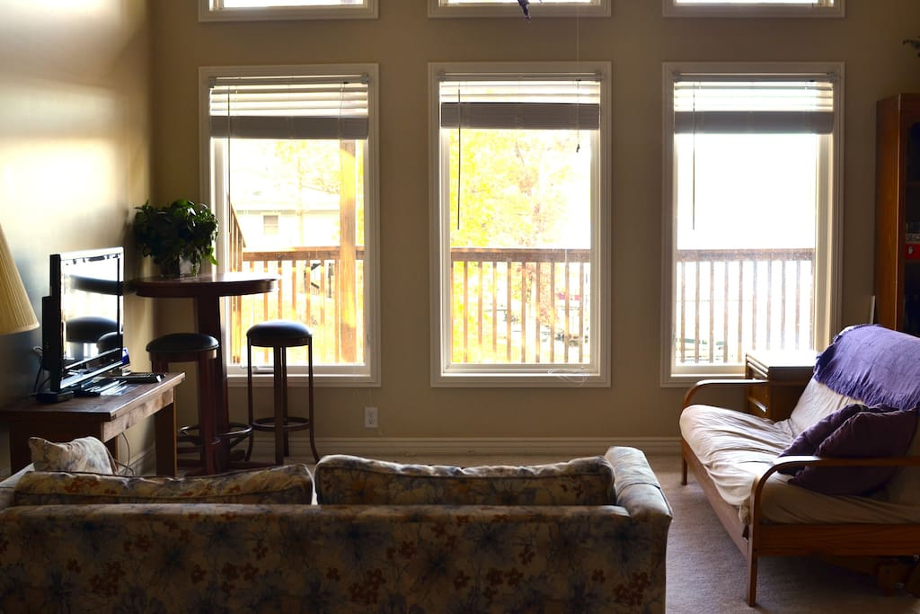 Relax in the main living space. Cable TV and wifi available. Views of the giant deck and lake.