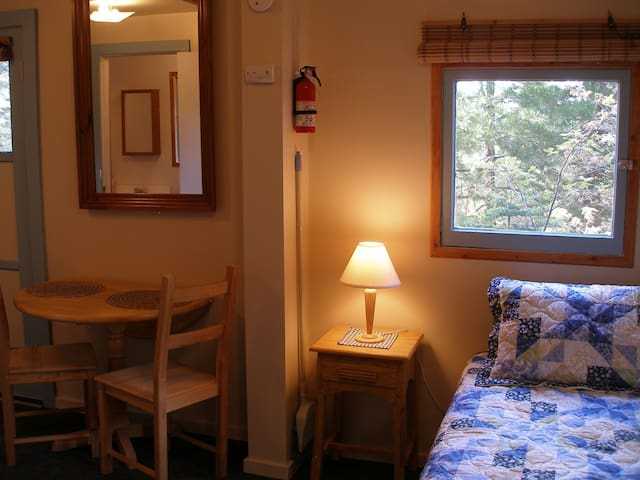 Twin bed and dining area