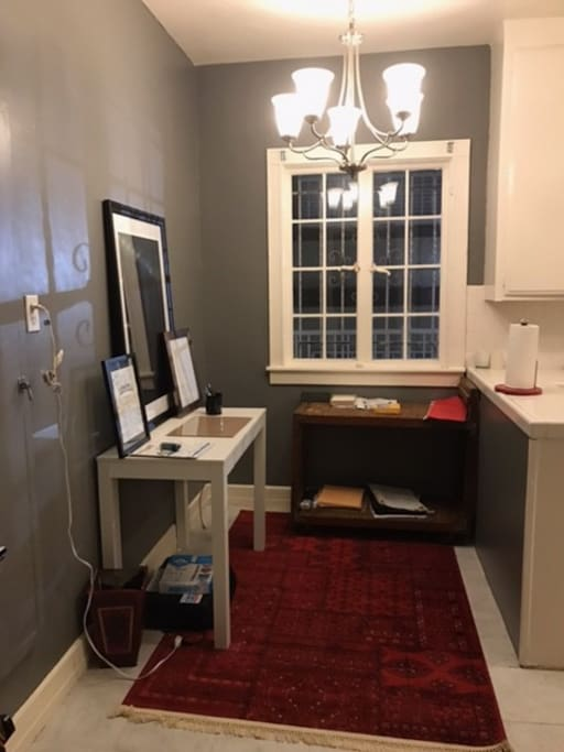 an office area with printer and wifi to do work