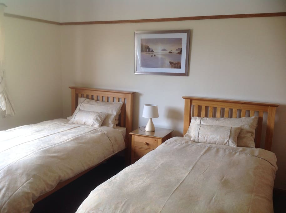 This is our comfortable twin room furnished for your comfort. TV, tea making facilities and wifi provided. This room is at the back of the house looking on to the tranquil scent of sheep grazing on the hill