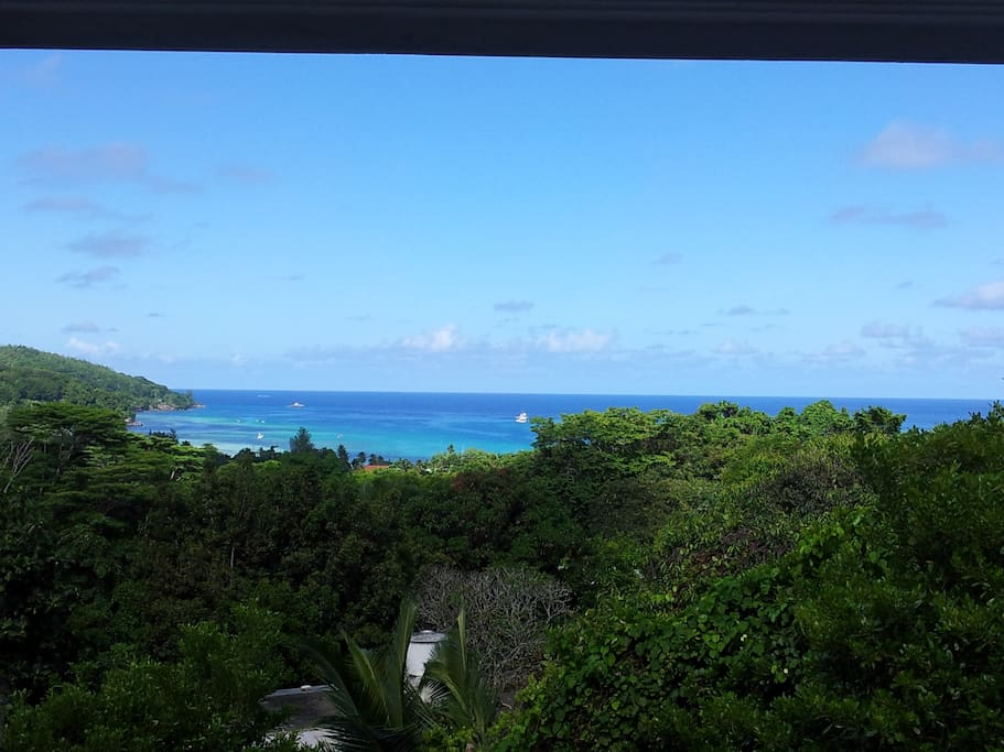 The view of Anse A La Mouche Bay from the apartment veranda