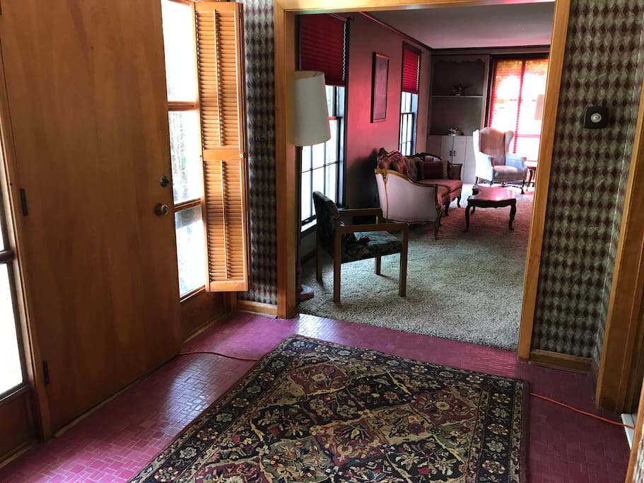 View of the living room from front entry
