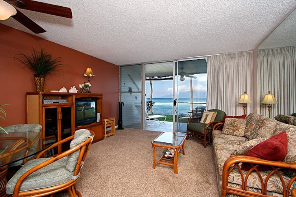 "Since these pictures were taken we have replaced the TV with a 32"" flat panel HDTV and added a Blu-ray DVD player for your viewing pleasure. The units at Noelani also have FREE WIFI Internet access."