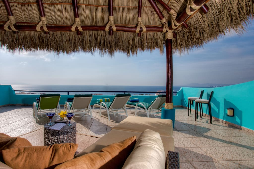 Terrace with amazing town and Banderas Bay views