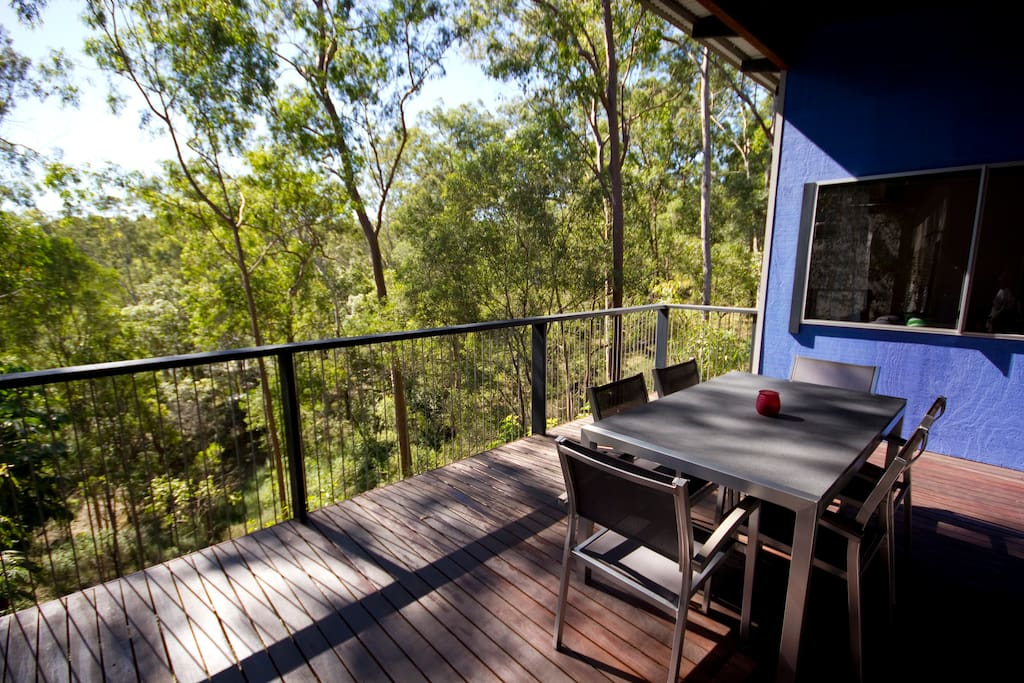 Your own private covered deck. A great place to have breakfast and watch all the busy birds.