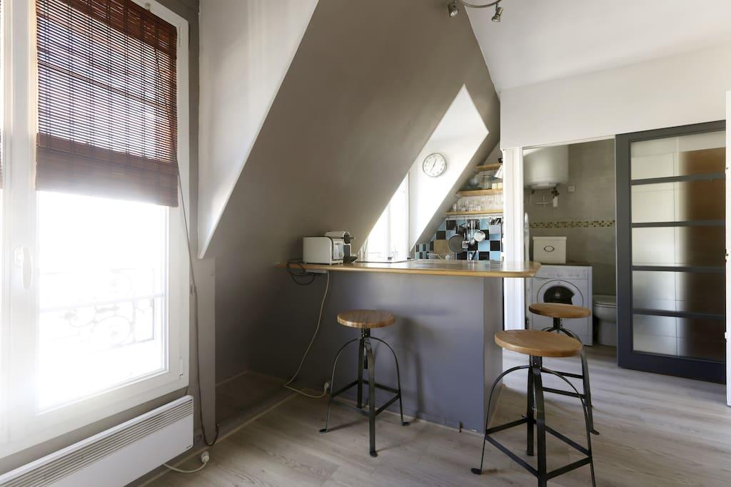charmant studio 20 m2 sous toits appartements louer paris le de france france. Black Bedroom Furniture Sets. Home Design Ideas