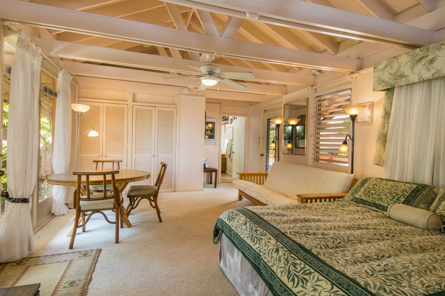 Plenty of space  with queen-size bed, futon and table for dining or enjoying the view.