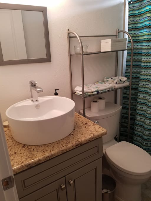 Modern basin and fixures.
