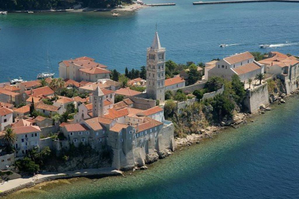 View over Rab Old Town from St. Euphemia Bay