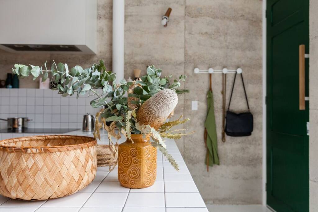 tiled benchtop + open living