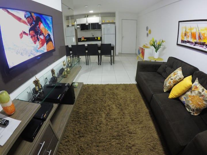 Quarto e sala super aconchegante na Ponta Verde