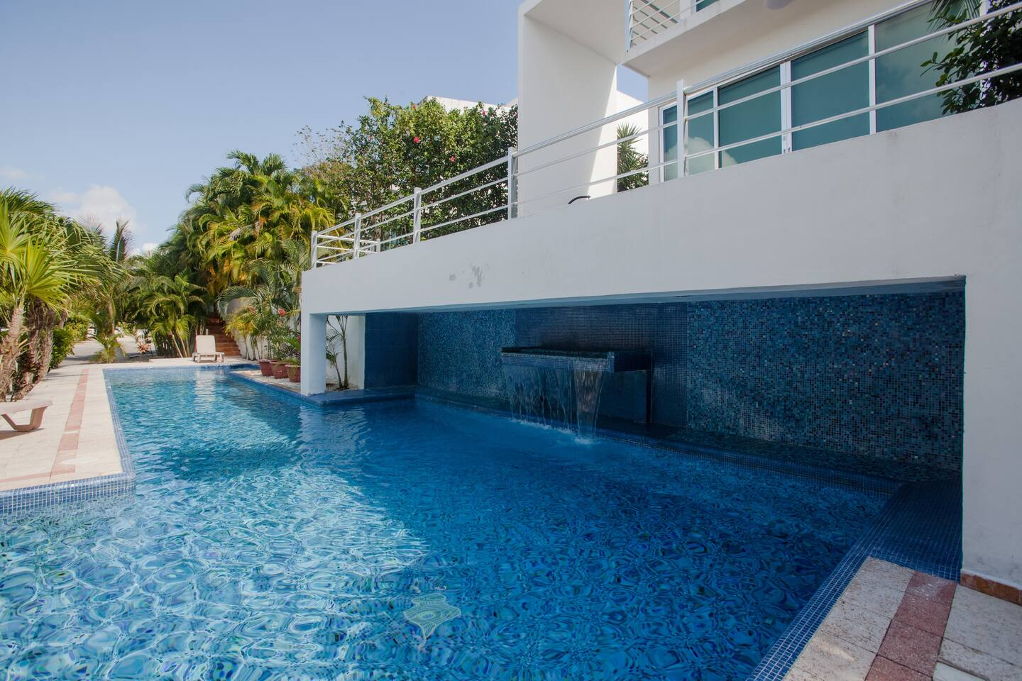 This swimming pool access directly through our private garden