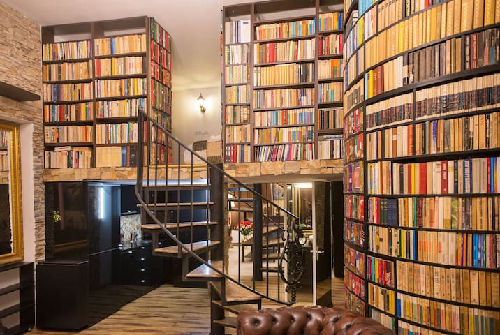 The secret library, with access shown to the bedroom up the spiral staircase and behind the secret library door and to the bathroom behind the secret mirrored door downstairs.