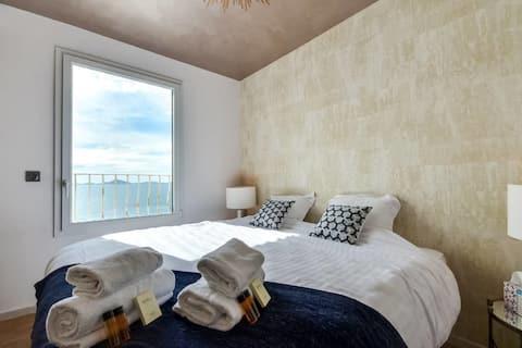 Superb leilighet med takterrasse og havutsikt