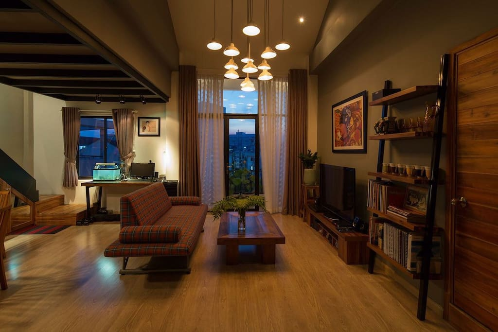 Living room, relaxing space for reading and gathering