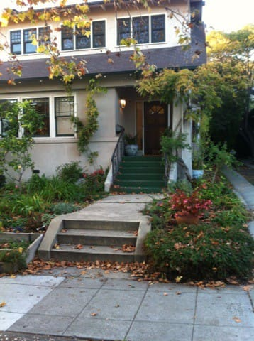 Front porch of century old Rockridge home