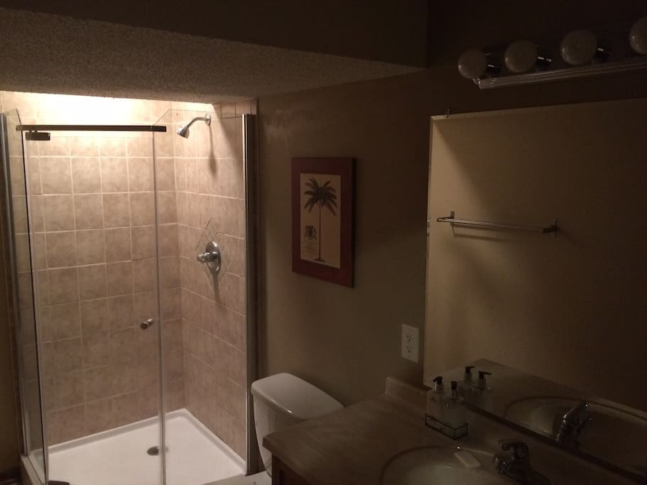 One of two bathrooms with multiple lighting options