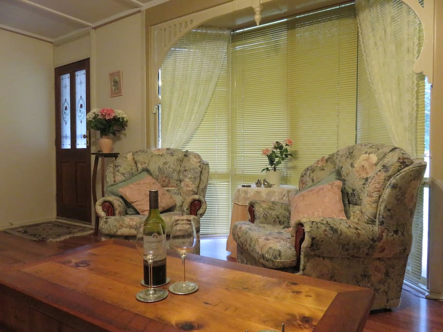 The comfortable lounge with TV, dvd and stereo.