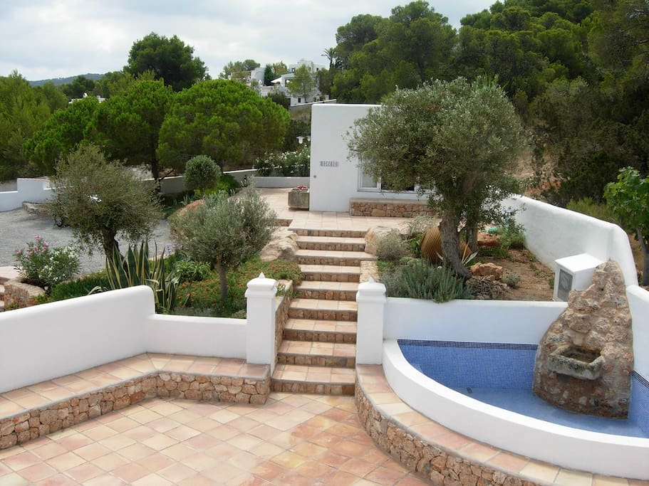 View of lounge pool from roof terrace. rear garden and private parking