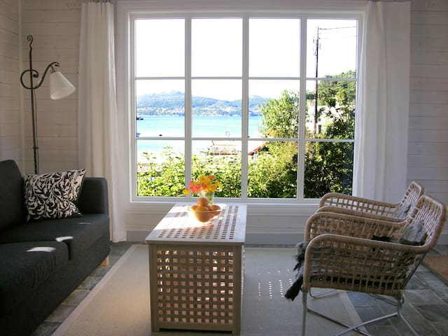 Nice view to wake up to? From the livingroom to the fjord.