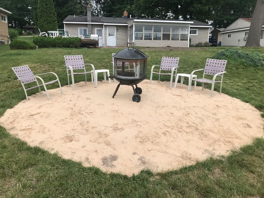 Sand circle with wood burner for night time activities