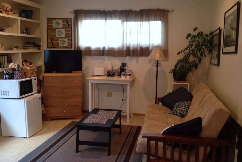 Breakfast area and pull out futon for extra guests.