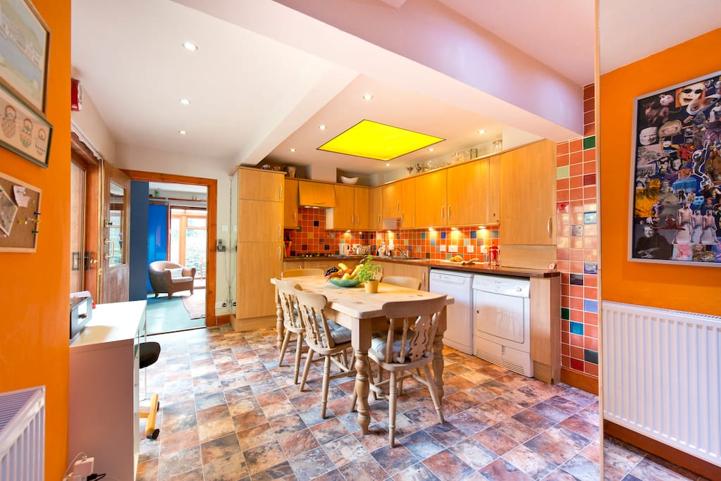 Large shared dining kitchen
