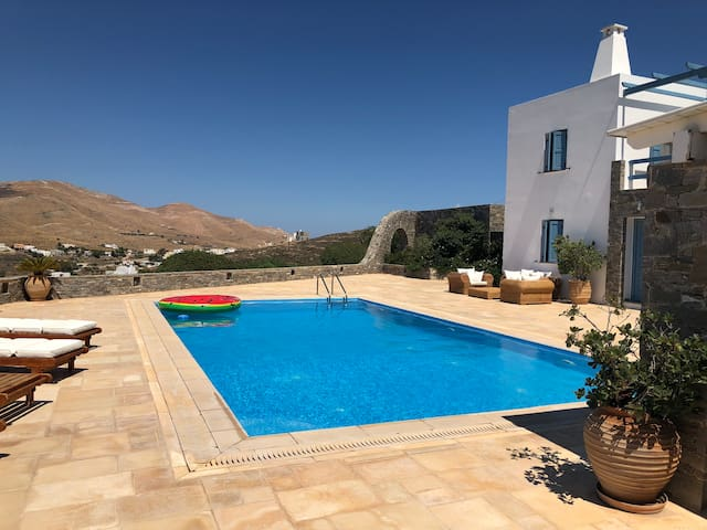 Syros villa with view and pool