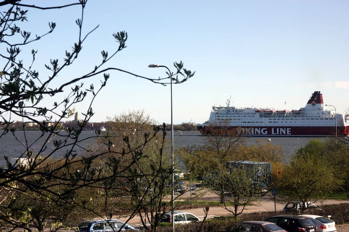 Ships sail in about 9-11am and out 16 -18. Viking Line's terminal is at 10 minutes walk  from the flat.
