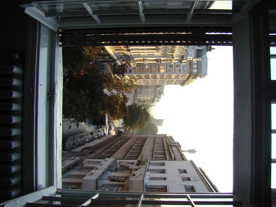 view from the private room towards pedestrian zone and Danube