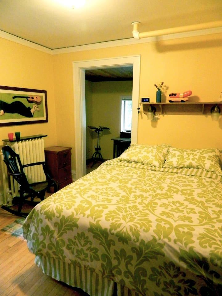 Looking from the doorway into the bedroom