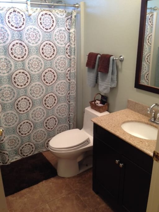 Newly remodeled bathroom with tub/shower,  All linens included