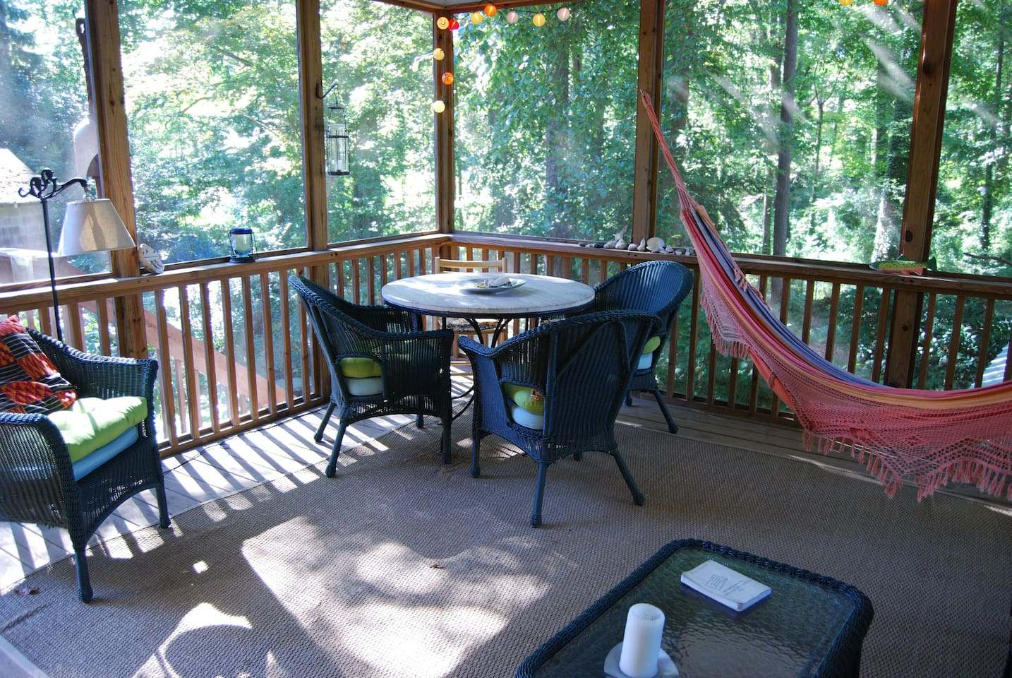 Restful porch with a hammock and a view