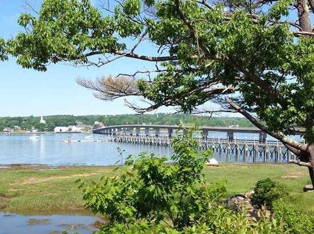 Waterfront view of dock and Wiscasset bridge
