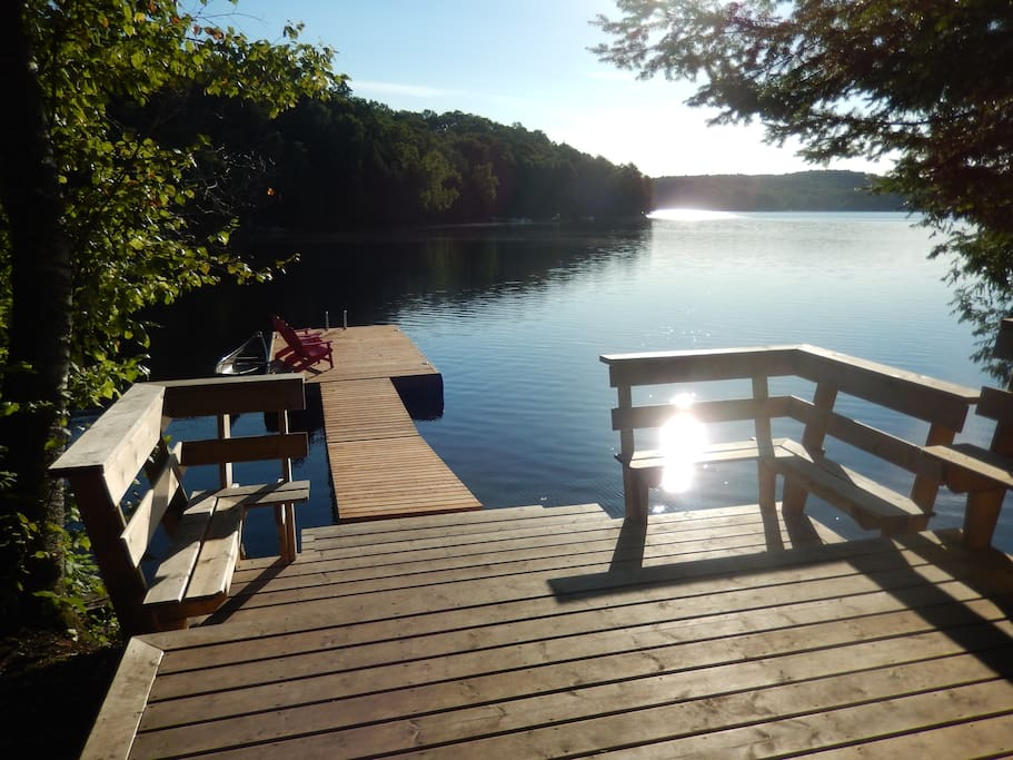 Private waterfront deck and dock, canoe available for guest use
