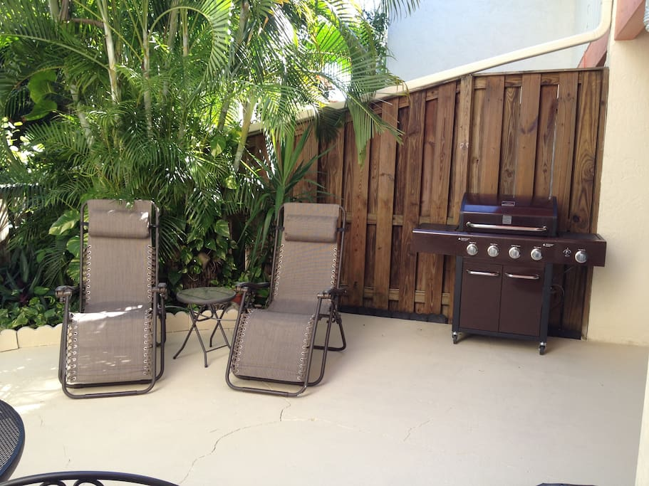 Cook out on the gas grill or relax in the zero-gravity recliners.