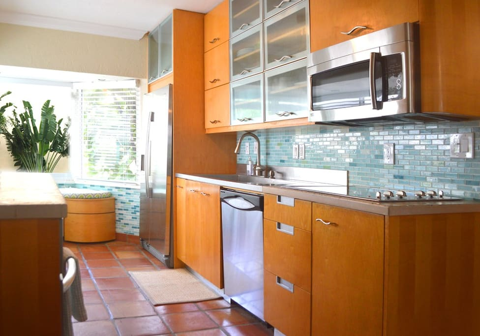 Modern, stainless steel custom kitchen.
