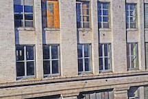 The view out your window.  Former Folgers Coffee building.  Renovating to lofts.