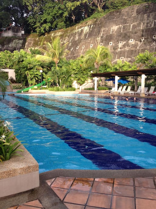 The big swimming pool for both kids and adults