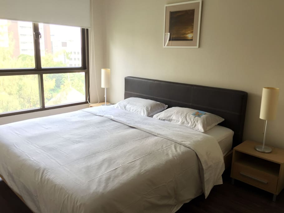 1 Bedroom with comfortable double bed and top view