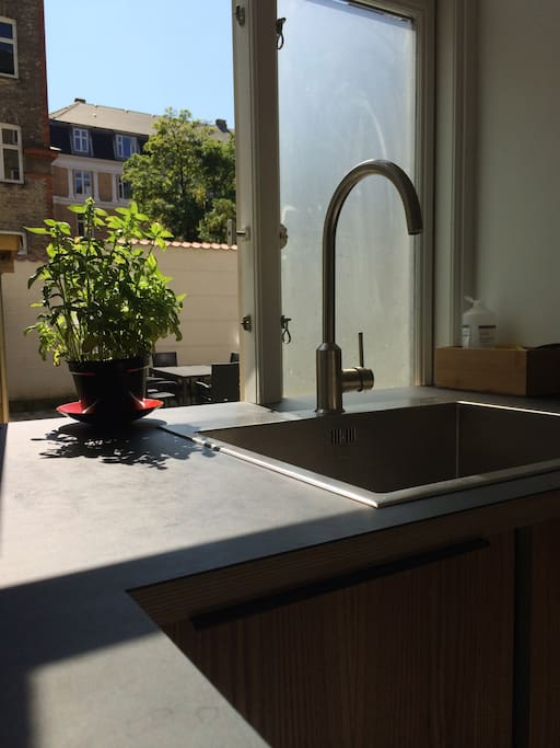 The kitchen is facing the courtyard