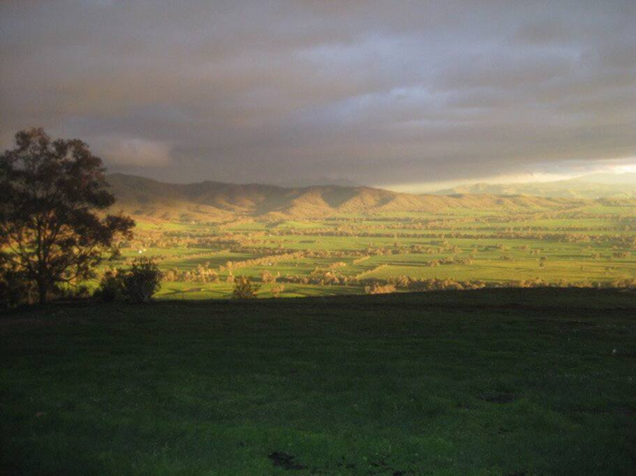 Sunlight on the valley below