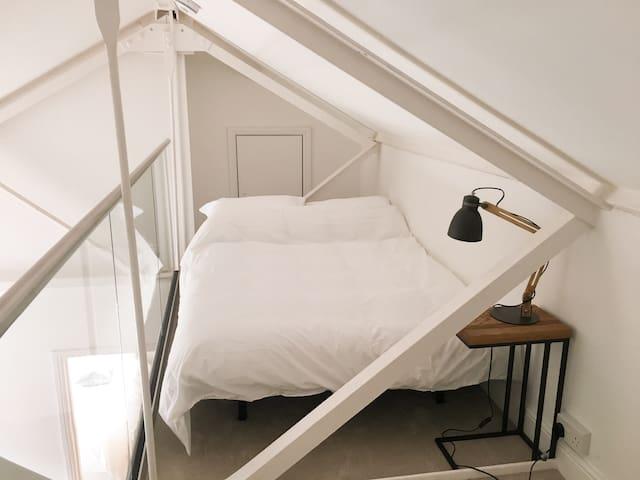 Mezzanine floor with full size double sofa bed