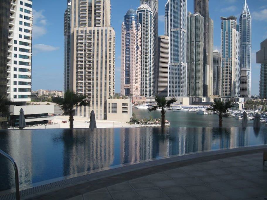 Marina views from the pool. Easy pool access - on the same floor as property.