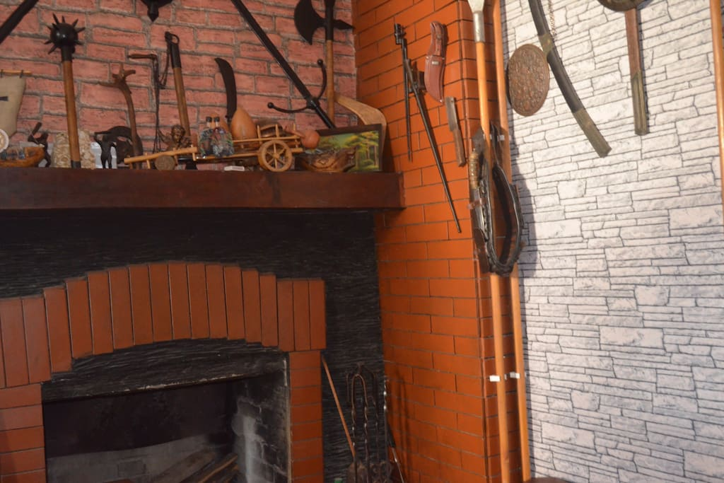 The fireplace with handicrafts